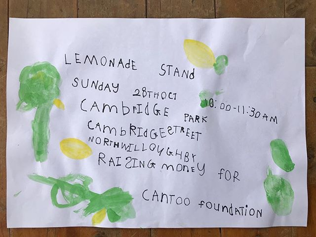 When your #fouryearold son says he wants to have a lemonade stand to raise money for cancer research, you go and buy him a case of bloomin' lemons 🍋🍋🍋!!! If you are in the Lower North Shore area of Sydney, please drop by to show your support this Sunday 10:00-11:30am @ Cambridge Park, (between Cambridge & Neville Streets) Nth Willoughby. This was purely my son's idea to run a lemonade stand to raise money for cancer research. He is 4 years and 11 months old and has a mum who has battled and survived breast cancer twice in the last two years. All money raised will go to CanToo for cancer research and cancer prevention. There will also be ANZAC biscuits! (Also his idea) #whenlifegivesyoulemons #compassion #compassionatekids #cantoo #cancerresearch #fundraising #cancerprevention #cancermama #proud #grateful #lemons #lemonade #lemonadestand