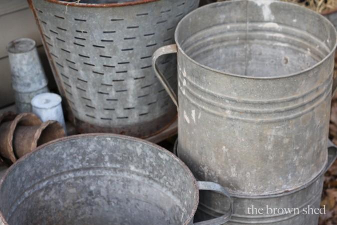 zinc buckets | thebrownshed.com
