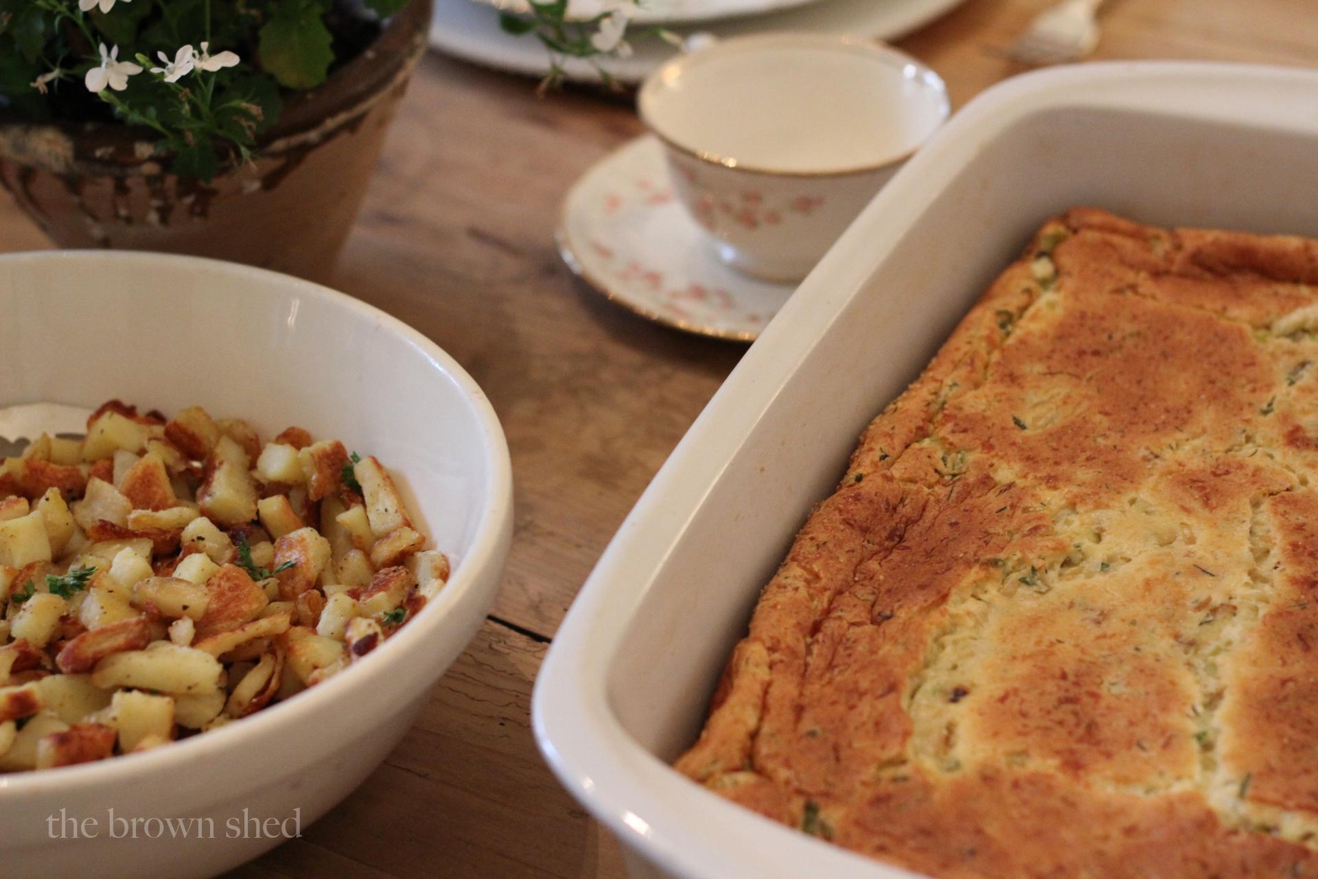 leek + cheese souffle