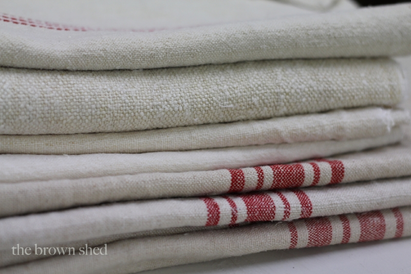 vintage grain sacks | thebrownshed.com