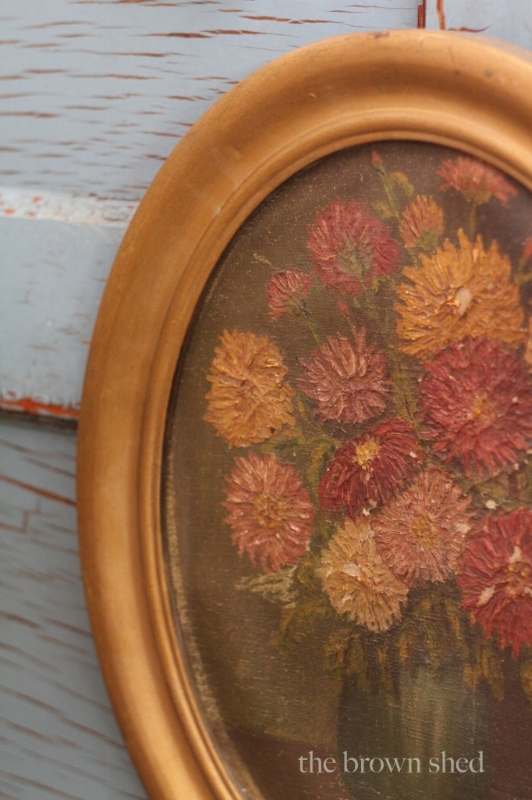 oval floral - oil