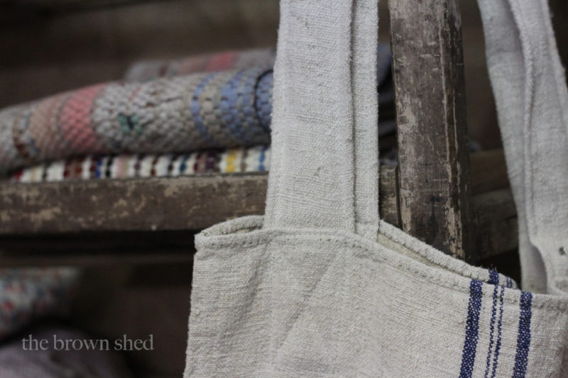 grain sack tote - farm house rag rugs