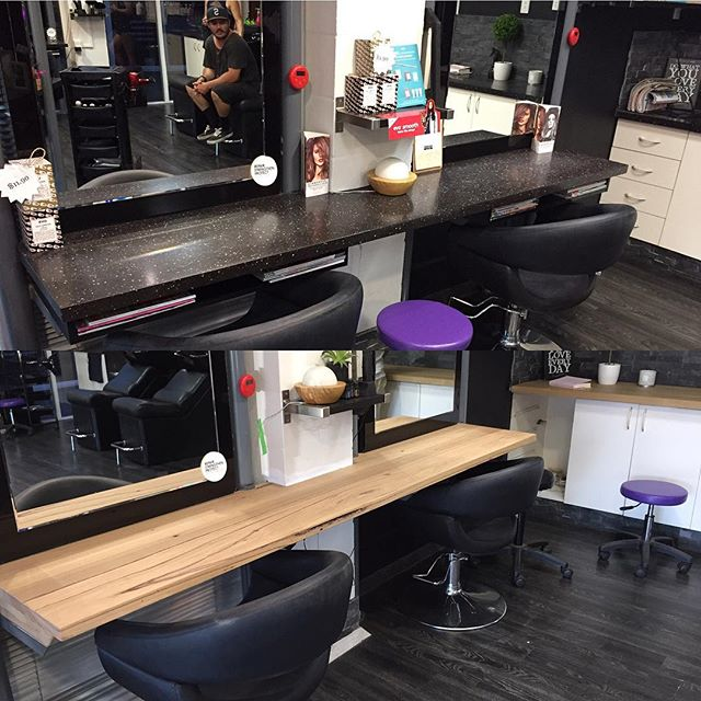 Out with the old, In with Reclaimed Timber. New bench tops throughout @davissahairstudio in Robina. #woodencollective #reclaimedtimberfurniture #hairsalon #fitout #goldcoast