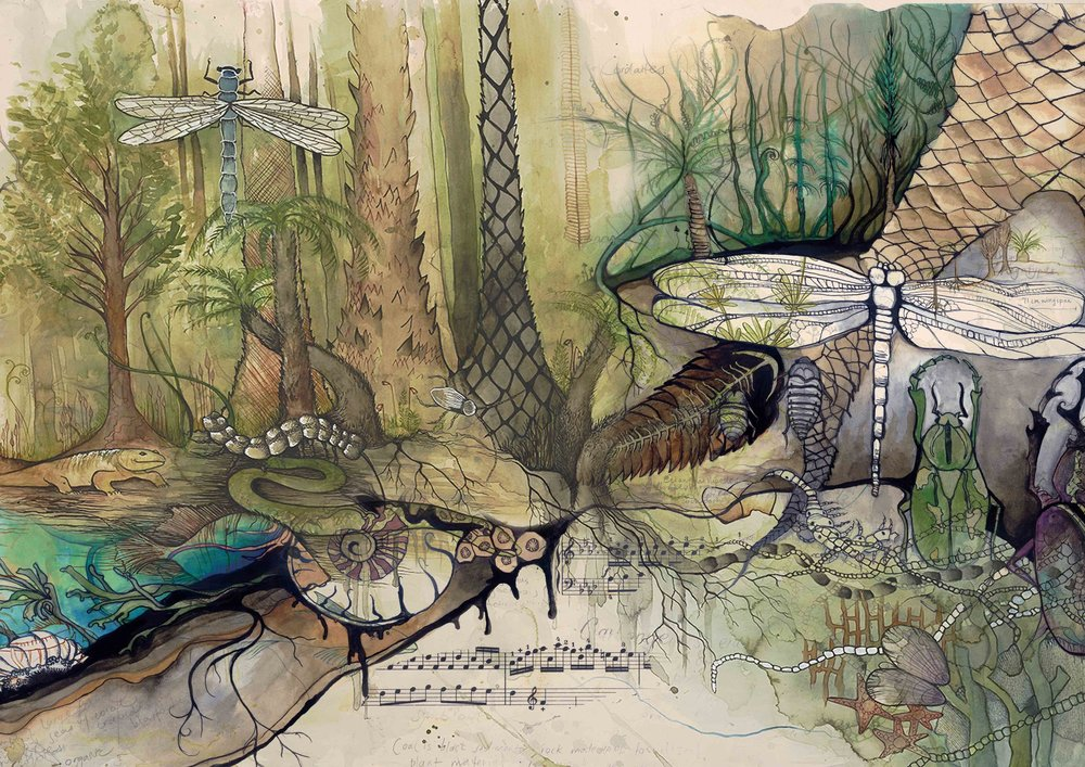 Forest study in watercolour, pen & ink by Aviva Reed, 2015.