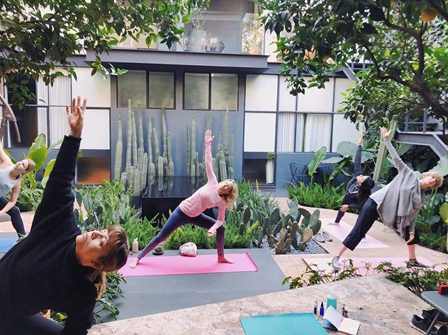 Beautiful morning class of releasing and receiving with the lovely souls of @wildterrains retreats. We practiced on the green and sunny patio of @ignaciamx , hidden away from the colonial streets of Roma Norte, with gourmet coffee by our sides. @laurenbates92 takes women to Mexico City to explore, where featured shops and restaurants (including Casa Ignacia!) are women-owned. Check out these incredible retreats!