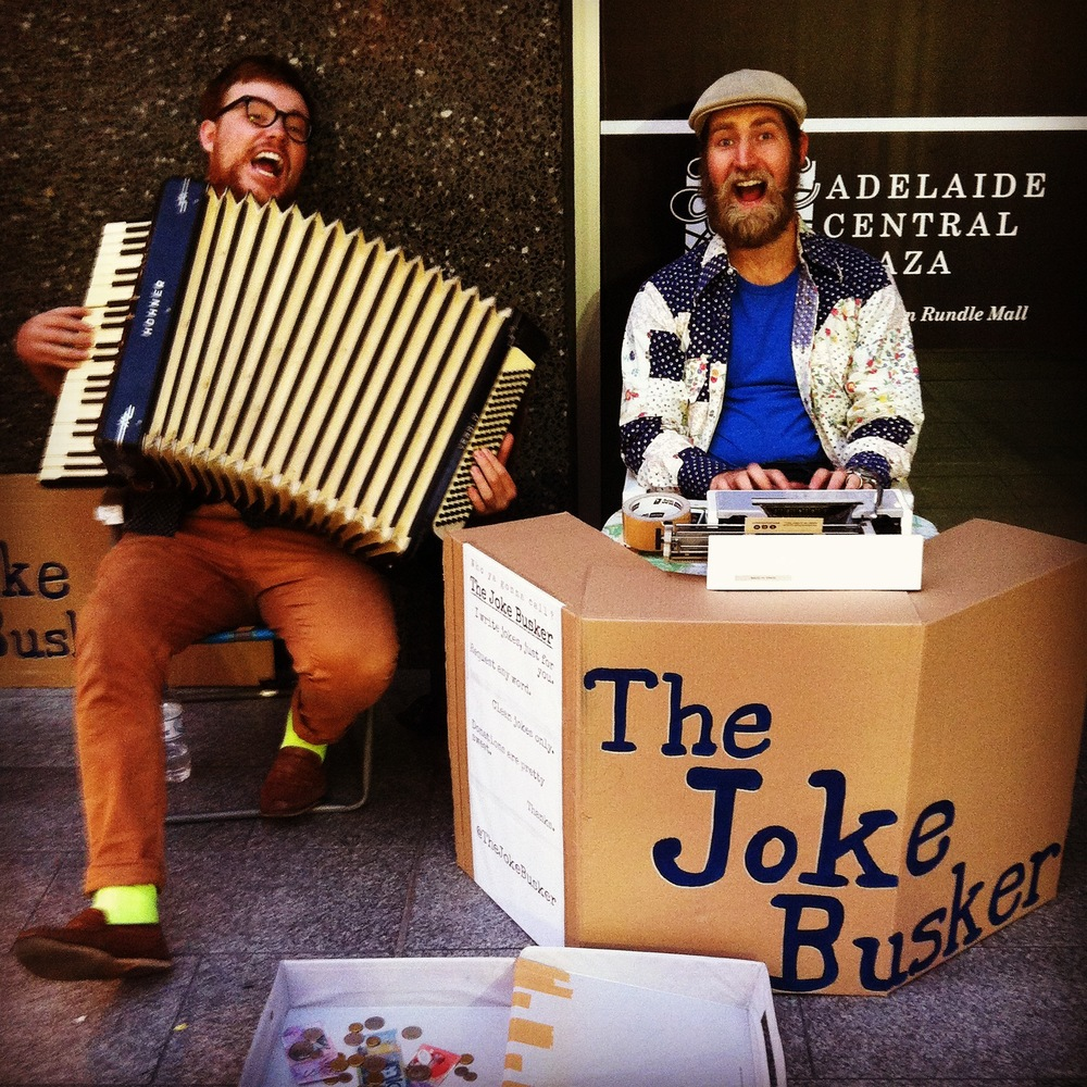Chris as The Joke Busker, accompanied by James McCann