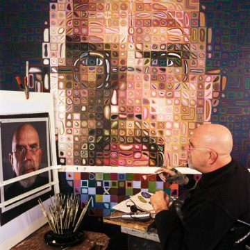 We emulated the grid process Chuck Close uses with LEGO bricks.