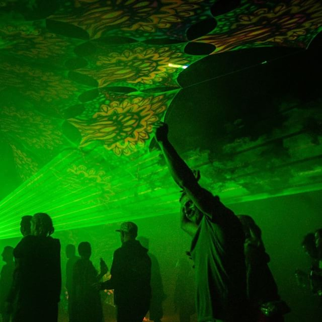 Dancefloor, canopy & lasers creating a Dimension of their own.  Decor by Mindfunk | Lasers by our one & only Ben from @soulstormlasers  #psytrance #festival #dimension #phatproductions #newzealand #psychedelic #art #decor #lasers #trance