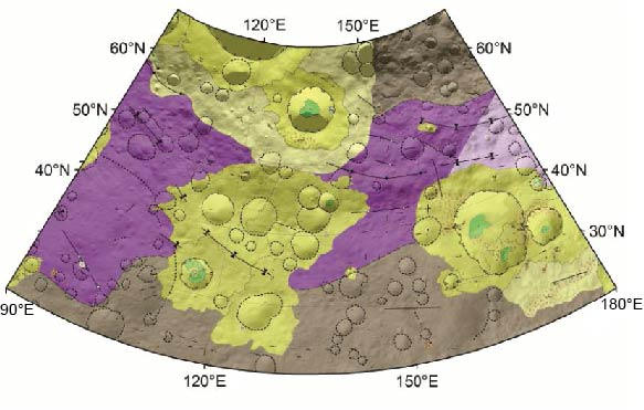 Geologic map of a quadrangle on asteroid Vesta (~500 km in diameter). Colors indicate different geologic units, formed at different times and by different geologic processes.