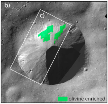 20 kilometers wide image of an impact crater on Vesta hosting material rich in olivine (green) (FC/VIR from Ruesch et al., 2014).