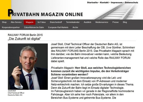 André Pohlmann, Chefredakteur Privatbahn Magazin, über RAILWAY FORUM 2015