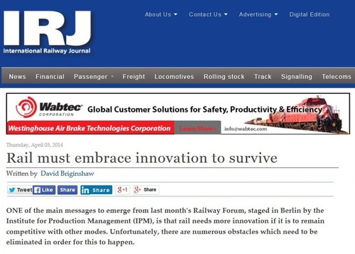 David Briginshaw, Chief Editor International Railway Journal, über RAILWAY FORUM 2014