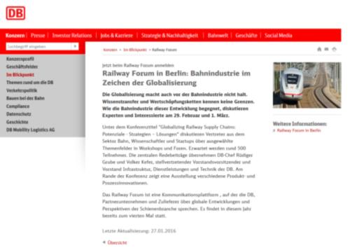Deutsche Bahn AG, Vorbericht zum RAILWAY FORUM 2016