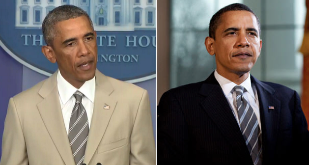 Obama sporting his two suits