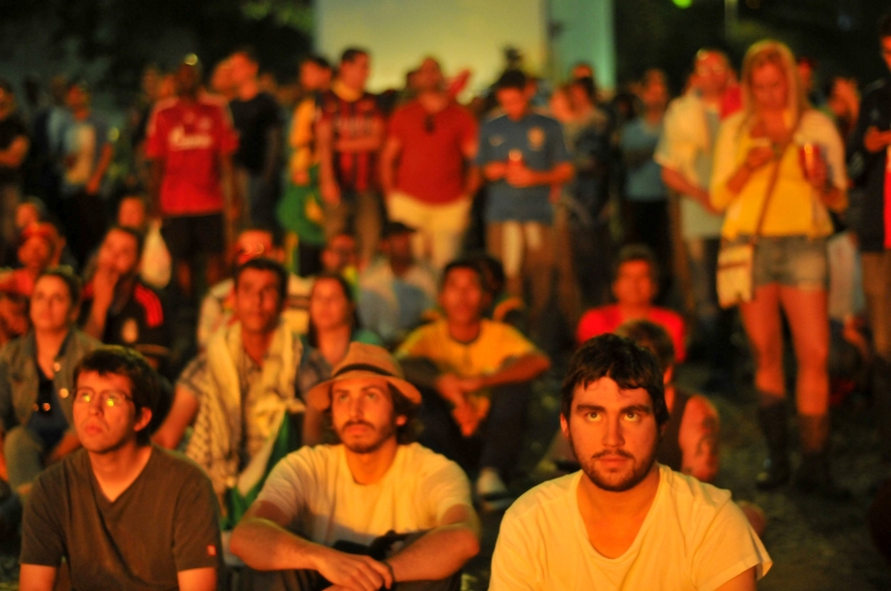 Soccer fans watching a matchat Fifa Fun Fest 2014 World Cup; Brazil. ©Erica Dezonne / All rights reserved