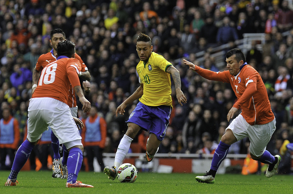 Neymar, Brazil soccer player, during the match against Chile; UK. ©Erica Dezonne / All rights reserved
