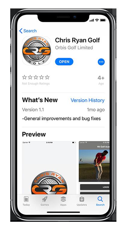 Branded App powering Chris Ryan Golf