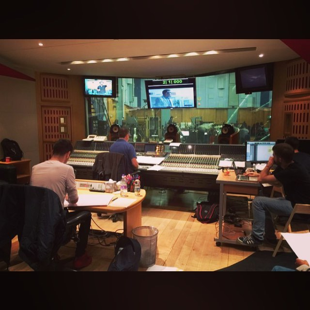 Tristan working at Abbey Road, Studio 1 as an orchestrator for series 4 of ITV 1's 'Endeavour'