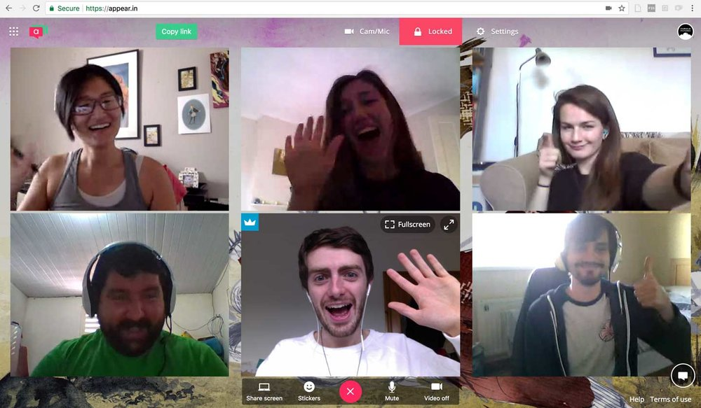 The weekly Cumulus Catch-Up call from around the world, from top right to bottom right: Christine Kwon (Lead Animator, USA), Gloria Daniels-Moss (Producer, UK), Lija Jursins (Background Artist, UK), Ryan Lancaster (Animator, UK), Ioan Holland (Director & Writer, UK), Paolo Diego (Animator, Brazil)