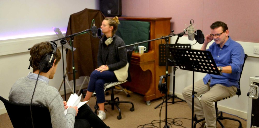 Voiceover Recordings, from left to right: Ioan Holland (Director & Writer), Rhian Marston-Jones (voice of Penwyn), Wayne Forester (voice of Mister Booby)