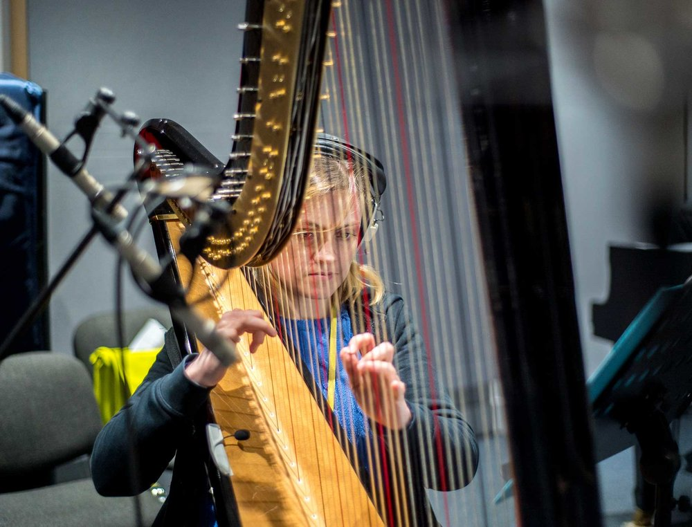 Harpist, Cerian Holland, recording the original Cumulus soundtrack