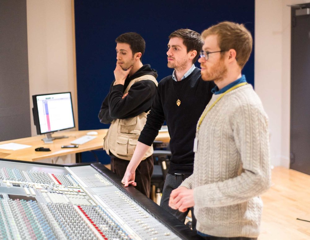 Original Soundtrack Recordings, from left to right: Nicolò Panzarasa (Recording Engineer), Ioan Holland (Director & Writer), Aaron Buckley (Soundtrack Composer)