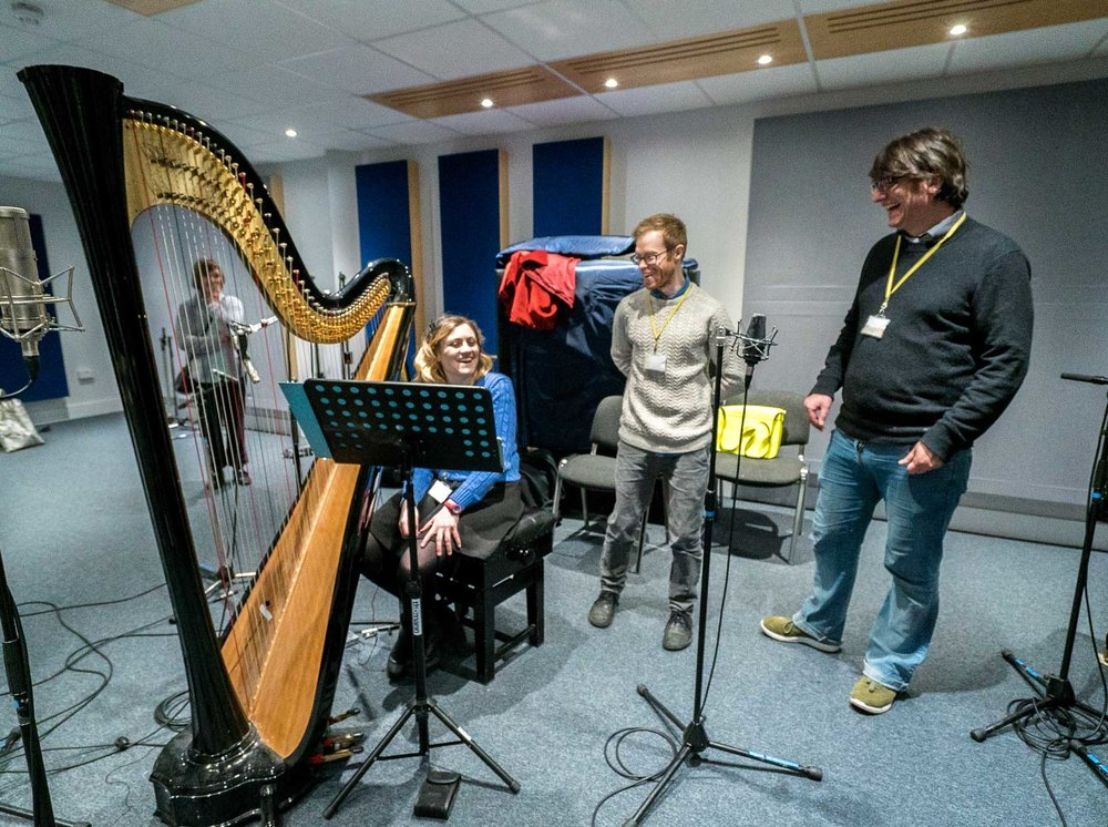 Recording the original soundtrack, from left to right: Cerian Holland (Harpist), Aaron Buckley (Soundtrack Composer), Jools Scott (Pianist)