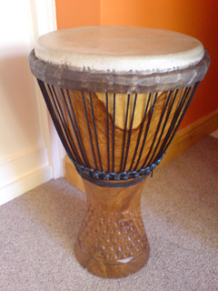 Djembe drum used in drumming workshops.