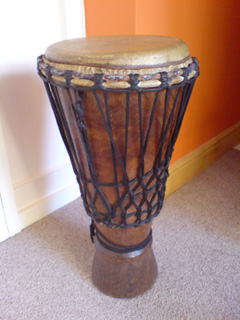 Bugarabu drum used in drumming workshops.