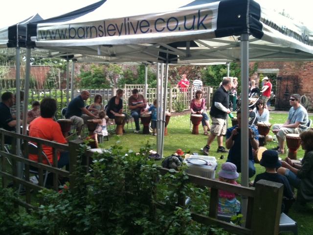 African drum circle at Barnsley