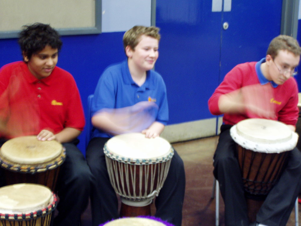 Last minute African drumming at Fiddlers Lane Primary school