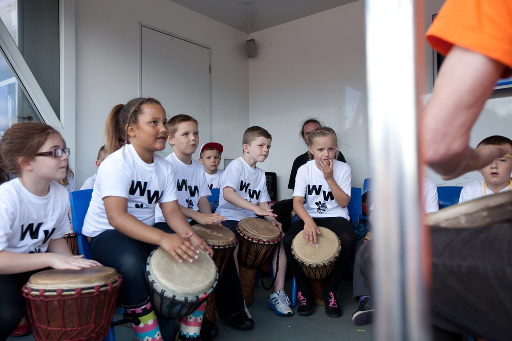 Children's drumming performance, Wincobank, Sheffield