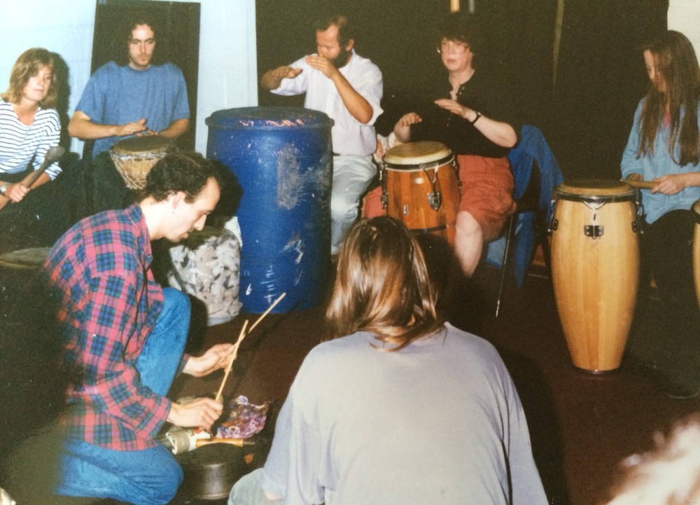 Steve Rivers leading African Drumming Workshop in 1994
