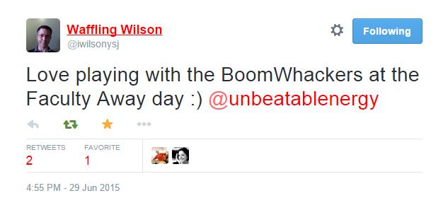 Review of Unbeatable Energy drumming workshop on Twitter