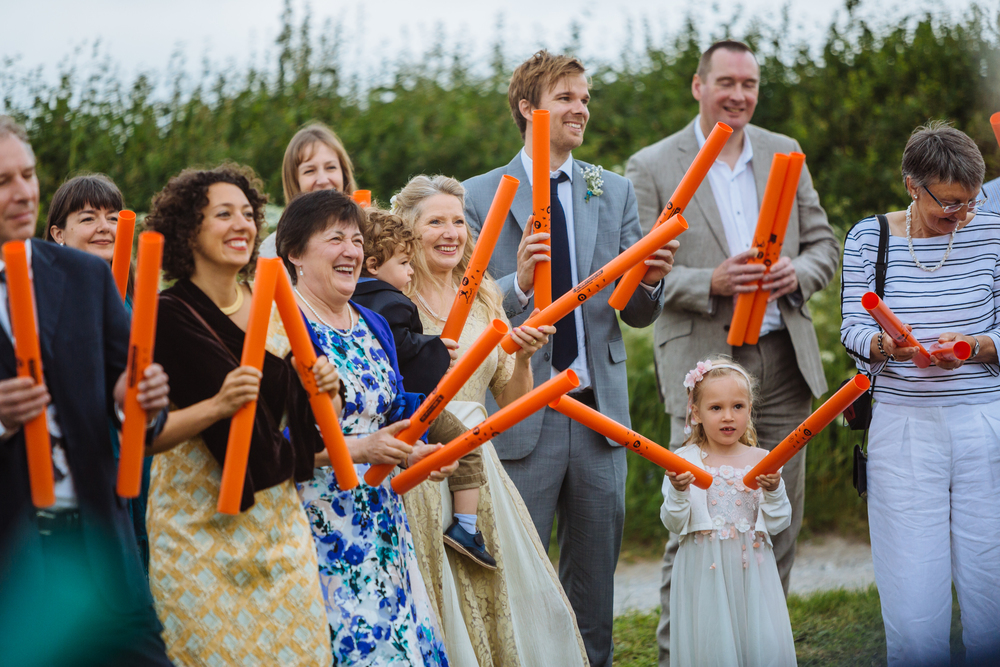 Boomwhacker icebreaker for outdoors wedding ceremony in Derbyshire