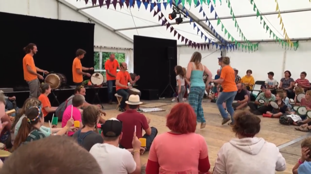 A diverse mix of ages and backgrounds played a diverse mix of instruments at the African Drumming and Dance workshop at Underneath the Stars Festival at Cannon Hall Farm.