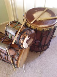Dunduns used in drumming workshops.