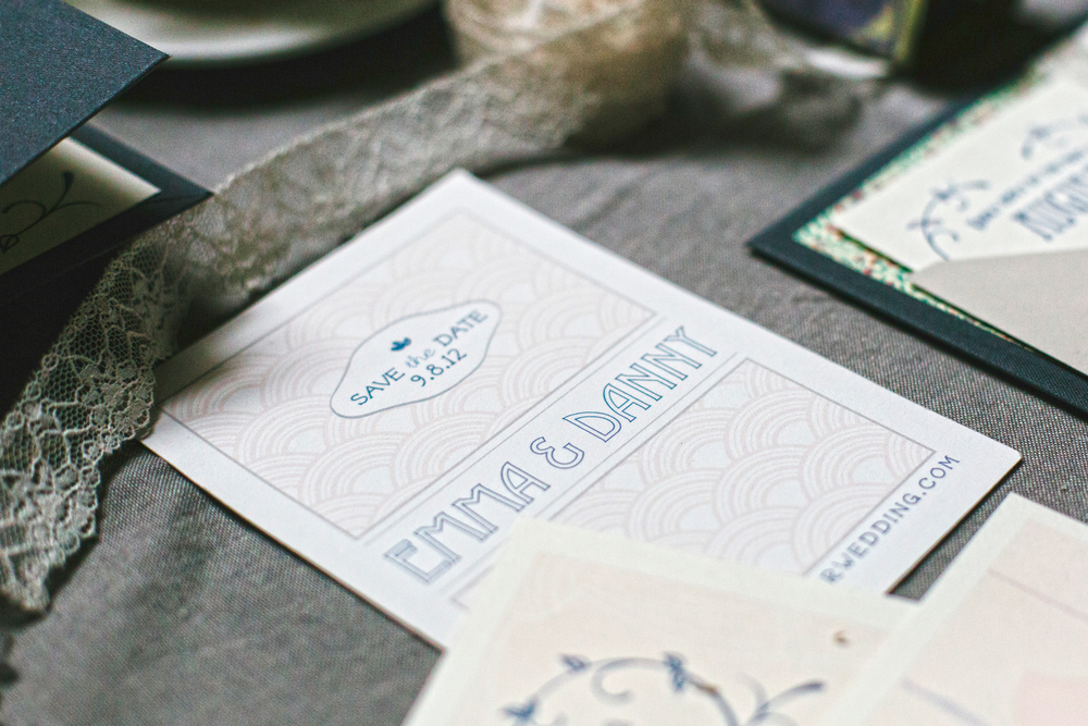 The save the date was a simple postcard with art deco pattern in soft colors.