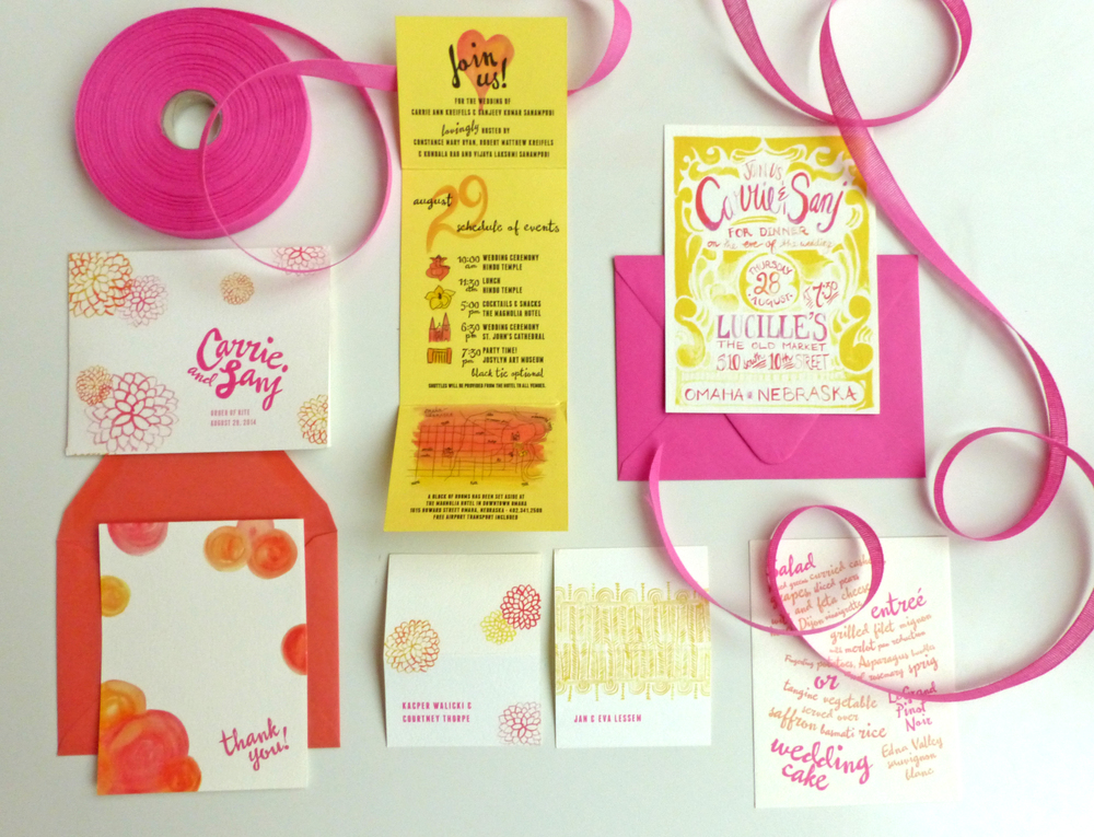 Accompanying pieces for the day of the wedding include programs for each of the ceremonies and matching escort cards, along with whimsical menu cards for the Hindu luncheon.