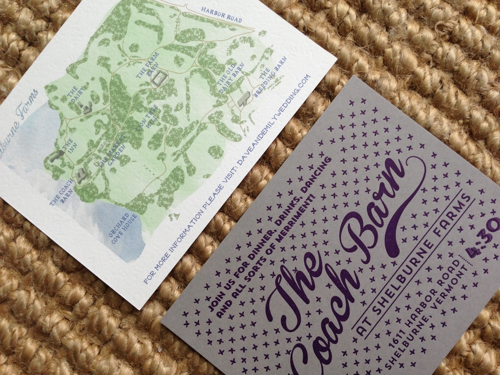 In order to handle the always tricky placement of the website URL we created a hand drawn map of the Shelburne Farms property.   The reception card in gray and purple conveyed the old world elegance of the Coach Barn archecture.