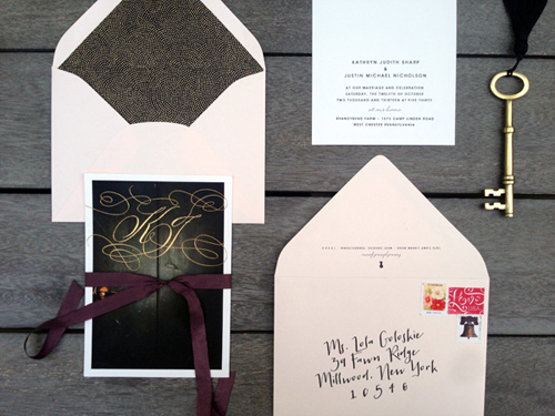 "The main card was foiled with the couple's first initials.       The front of all the cards feature the text and keyhole graphic – A ""peek inside"" at the information!"