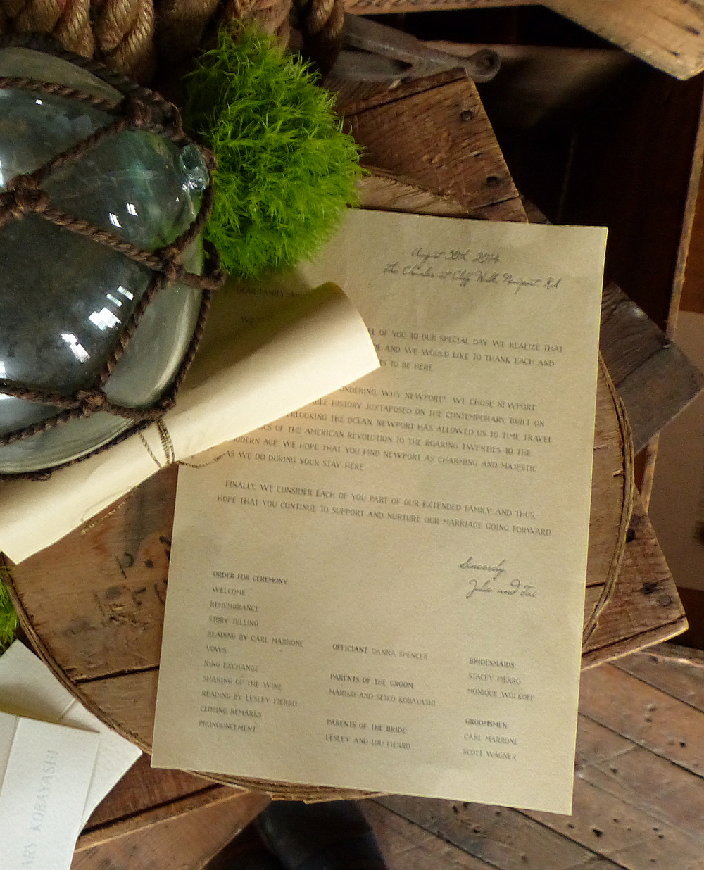 For the very short ceremony program we incorporated a letter from the couple and rolled it into a scroll.