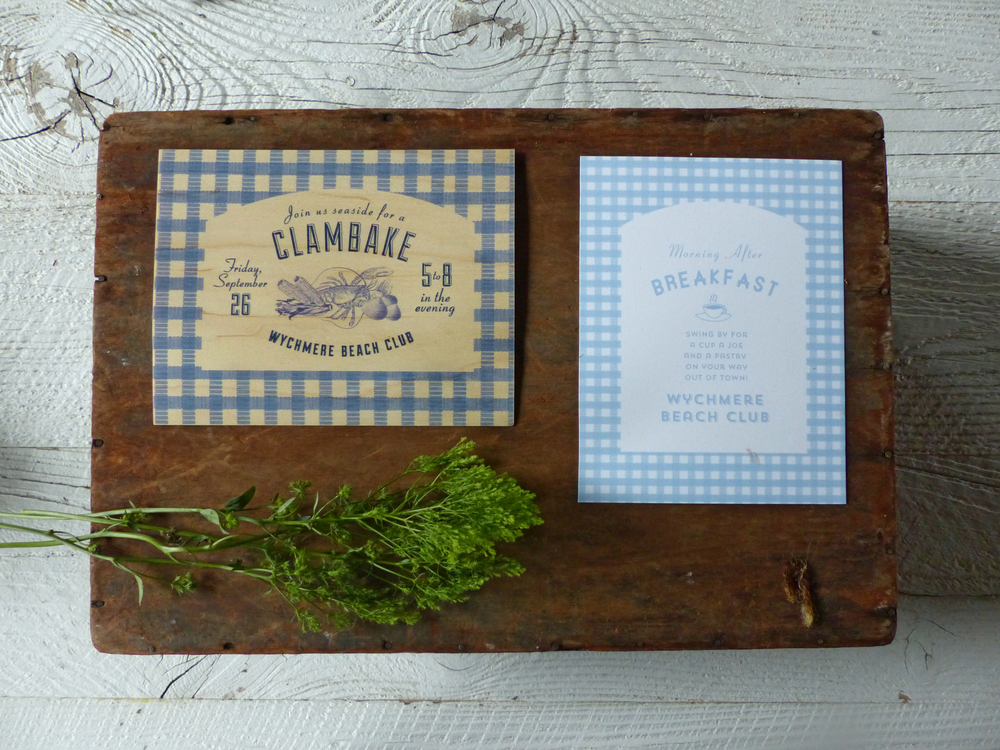 Cute blue gingham is used on the cards for the other weekend events, a Friday Night Clambake on the beach and a diner style breakfast on Sunday.