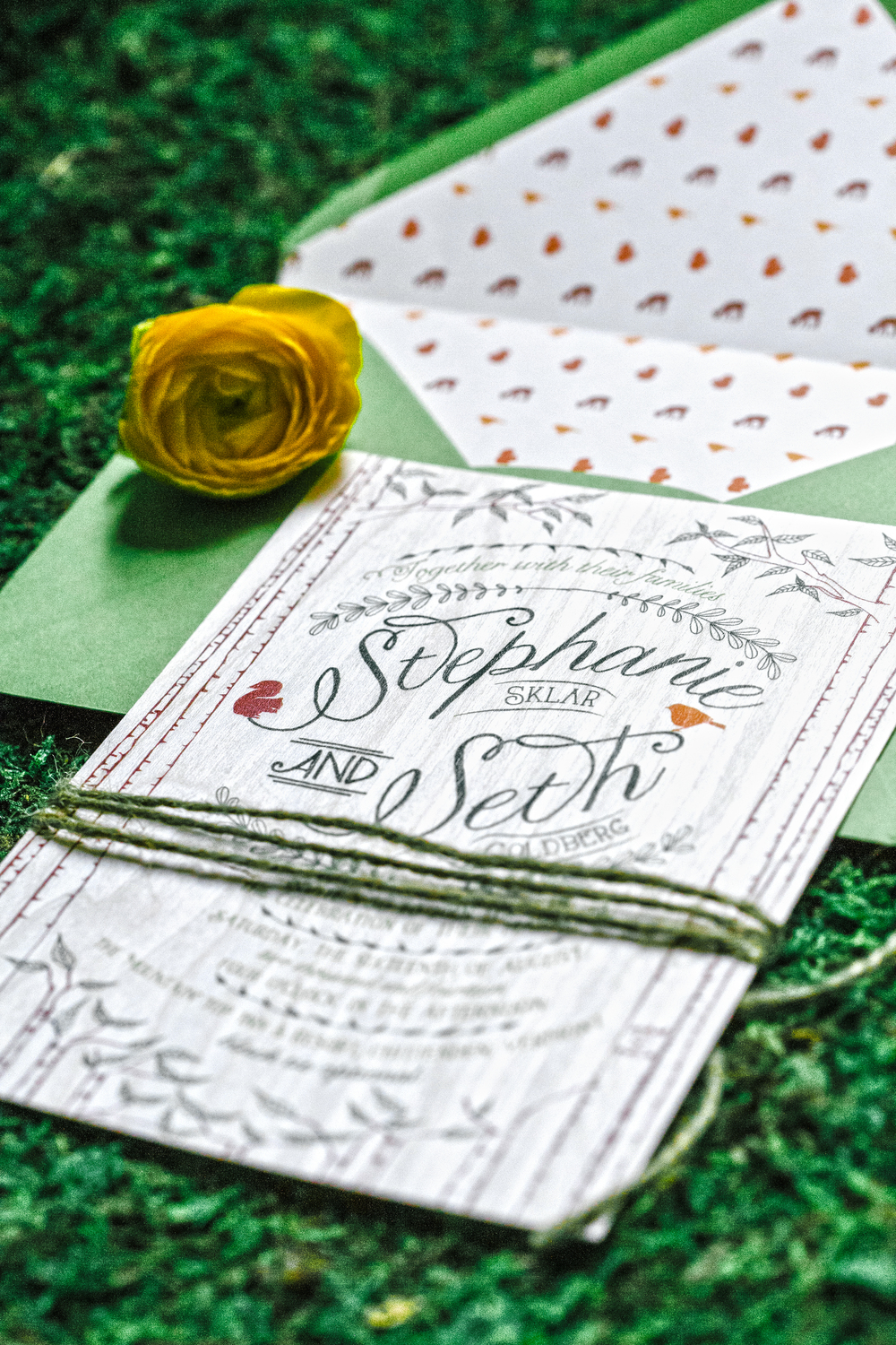 The invitation was printed on Aspen wood veneer with a perky green envelope and critter pattern envelope liner.
