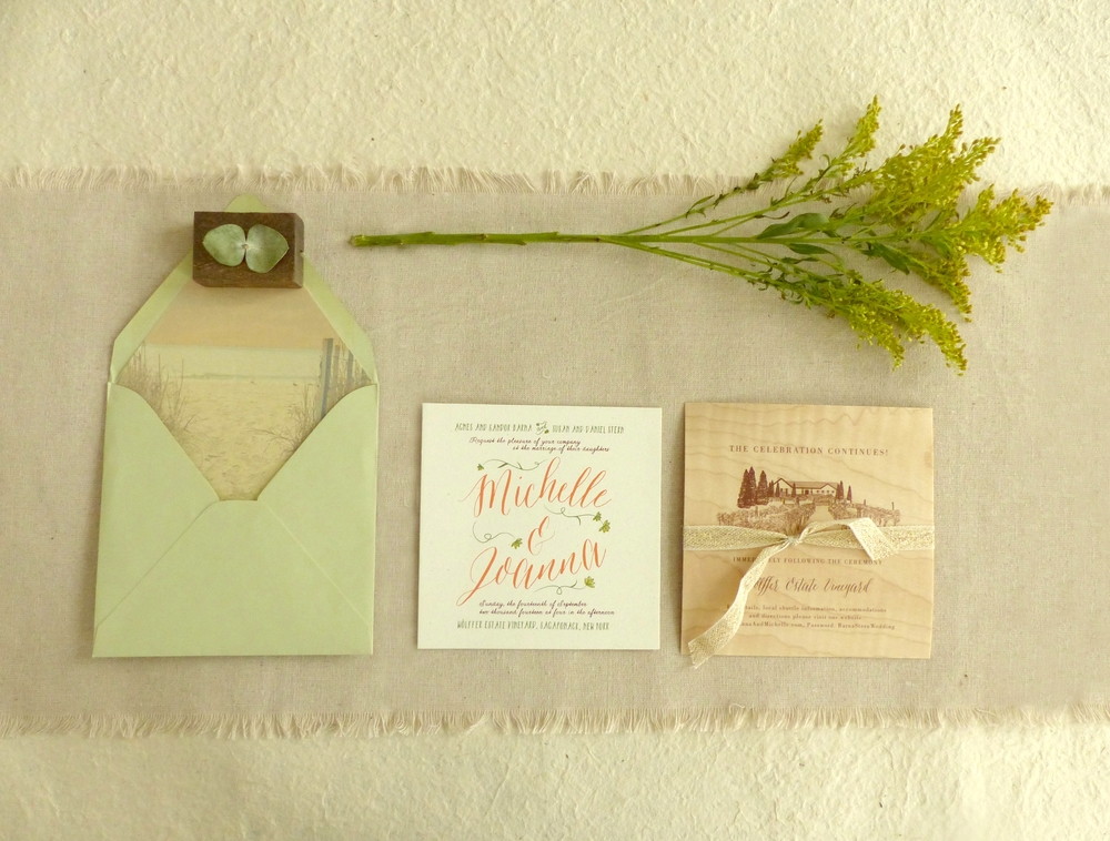 The playful front card was screen printed in a bright and cheery late summer palette and was layered over the wood veneer printed reception card.