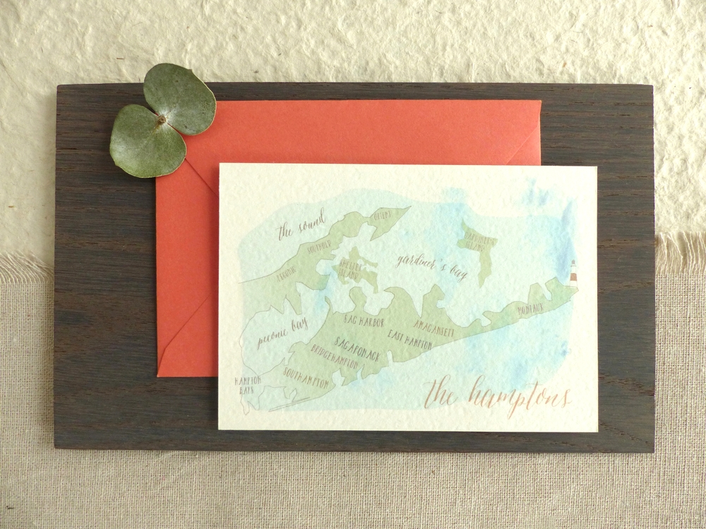 A hand painted watercolor map of the Hamtpons was created for the back of the reply card.