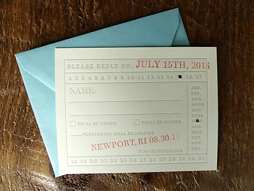 For fun the reply card was printed to resemble a vintage ferry ticket, complete with punched out and stamped date.