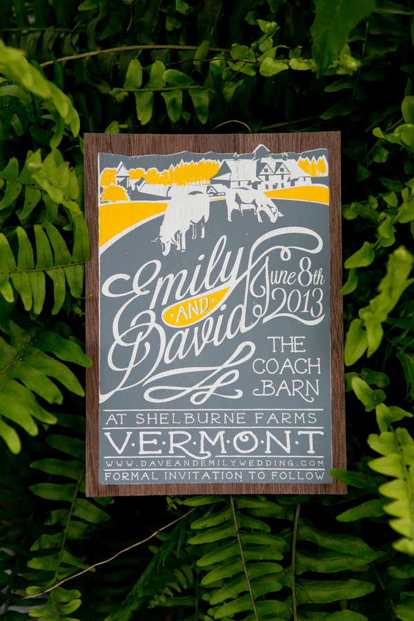 Our favorite save the date...to date!  A poster style design was created featuring a far off vantage point of the Coach Barn and Shelburne Farms with resident sheep in view. The design was screen printed in three colors on walnut wood veneer.