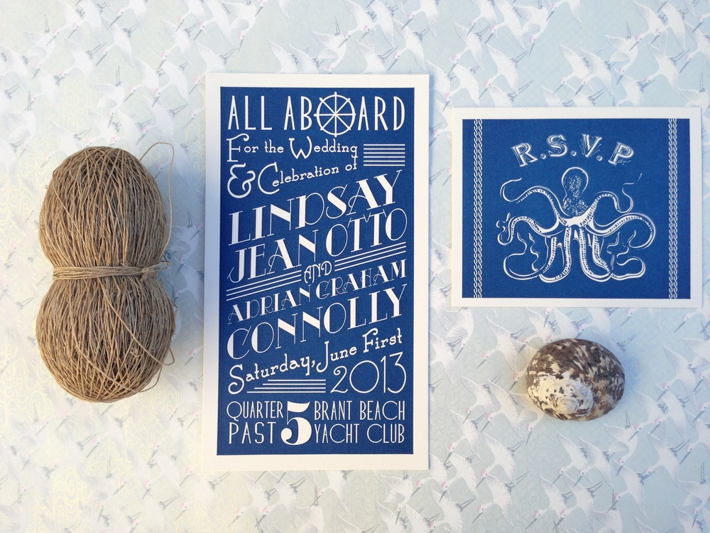 The letterpress cards balanced the yellowing antiqued paper with deep blue letterpress and knocked out white type in a retro type treatment.