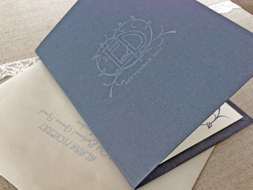 Bound in genuine book cloth, the cover was stamped with the couple's logo.